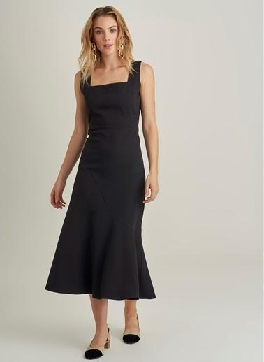 NGSTYLE Kare Yaka Volanlı Elbise Siyah